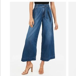 High Waisted Cropped Wide Leg Jean